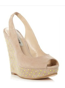 Taupe Suede Highlight Neon Studded Wedge Sandal - secondary colour: lime; predominant colour: stone; occasions: casual, evening, holiday; material: suede; embellishment: studs; heel: wedge; toe: open toe/peeptoe; style: slingbacks; finish: plain; pattern: polka dot; heel height: very high