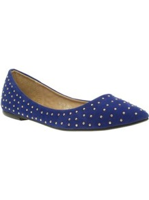 Blue Studded Pointed Toe Casual Ballerinas - predominant colour: royal blue; occasions: casual, evening, work; material: fabric; heel height: flat; embellishment: studs; toe: pointed toe; style: ballerinas / pumps; finish: plain; pattern: plain