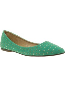 Turquoise Studded Pointed Toe Casual Ballerinas - predominant colour: mint green; occasions: casual, evening, work; material: fabric; heel height: flat; embellishment: studs; toe: pointed toe; style: ballerinas / pumps; finish: plain; pattern: plain