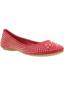 Light Orange Diamante Trim Round Toe Ballerinas - predominant colour: true red; occasions: casual, evening, work; material: faux leather; heel height: flat; embellishment: studs; toe: round toe; style: ballerinas / pumps; finish: plain; pattern: plain