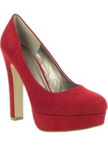 Red Platform Almond Toe Court Shoes With Block Heel - predominant colour: true red; occasions: evening; material: faux leather; heel: platform; toe: round toe; style: courts; finish: plain; pattern: plain; heel height: very high