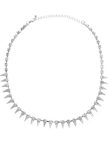 Under Collar Spike &amp; Stone Necklace - predominant colour: silver; occasions: evening, work, occasion; style: standard; length: short; size: standard; material: chain/metal; finish: metallic; embellishment: crystals