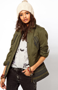 Printed Hem Parka - length: below the bottom; shoulder detail: obvious epaulette; bust detail: added detail/embellishment at bust; style: parka; back detail: contrast pattern/fabric at back; predominant colour: khaki; occasions: casual; fit: tailored/fitted; fibres: polyester/polyamide - mix; collar: shirt collar/peter pan/zip with opening; hip detail: contrast fabric/print detail at hip; waist detail: fitted waist; sleeve length: long sleeve; sleeve style: standard; texture group: cotton feel fabrics; collar break: high; pattern type: fabric; pattern size: standard; pattern: patterned/print