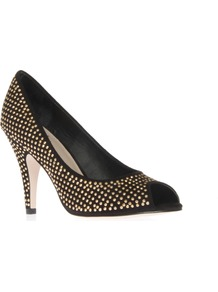 Pixie - predominant colour: black; occasions: evening, work, occasion; material: faux leather; heel height: mid; embellishment: studs; heel: stiletto; toe: open toe/peeptoe; style: courts; trends: metallics; finish: metallic; pattern: patterned/print