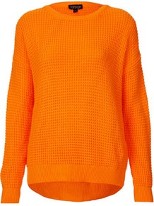 Knitted Textured Stitch Jumper - neckline: round neck; pattern: plain; length: below the bottom; style: standard; predominant colour: bright orange; occasions: casual, work; fibres: acrylic - 100%; fit: loose; back detail: longer hem at back than at front; sleeve length: long sleeve; sleeve style: standard; texture group: knits/crochet; trends: fluorescent; pattern type: knitted - other; pattern size: small &amp; light