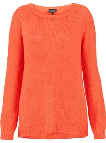Knitted Cut Out Back Jumper - neckline: round neck; style: standard; predominant colour: coral; occasions: casual; length: standard; fibres: acrylic - 100%; fit: standard fit; back detail: keyhole/peephole detail at back; sleeve length: long sleeve; sleeve style: standard; texture group: knits/crochet; pattern type: knitted - other