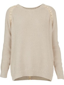 Knitted Lace Shimmer Jumper - neckline: round neck; length: below the bottom; style: standard; shoulder detail: contrast pattern/fabric at shoulder; back detail: contrast pattern/fabric at back; predominant colour: stone; occasions: casual; fibres: cotton - mix; fit: loose; sleeve length: long sleeve; sleeve style: standard; texture group: knits/crochet; pattern type: knitted - other