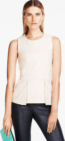 Top - neckline: round neck; pattern: plain; sleeve style: sleeveless; waist detail: peplum waist detail; predominant colour: ivory; occasions: casual, evening, work; length: standard; style: top; fibres: polyester/polyamide - mix; fit: body skimming; sleeve length: sleeveless; texture group: crepes; pattern type: fabric