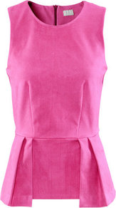Top - neckline: round neck; pattern: plain; sleeve style: sleeveless; waist detail: peplum waist detail; bust detail: ruching/gathering/draping/layers/pintuck pleats at bust; predominant colour: pink; occasions: casual, evening, work; length: standard; style: top; fibres: polyester/polyamide - mix; fit: body skimming; sleeve length: sleeveless; pattern type: fabric; pattern size: standard; texture group: other - light to midweight