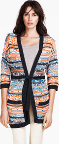Cardigan - neckline: low v-neck; length: below the bottom; hip detail: front pockets at hip; shoulder detail: contrast pattern/fabric at shoulder; style: open front; occasions: casual, work; fibres: cotton - mix; fit: standard fit; waist detail: belted waist/tie at waist/drawstring; bust detail: contrast pattern/fabric/detail at bust; predominant colour: multicoloured; sleeve length: 3/4 length; sleeve style: standard; texture group: knits/crochet; trends: striking stripes; pattern type: knitted - other; pattern size: big & busy; pattern: patterned/print