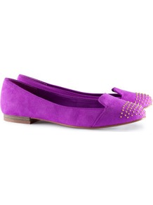 Ballet Pumps - predominant colour: magenta; occasions: casual, work, holiday; material: faux leather; heel height: flat; embellishment: studs; toe: round toe; style: ballerinas / pumps; trends: fluorescent; finish: metallic; pattern: plain