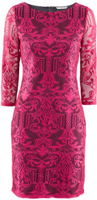 Dress - style: shift; length: mid thigh; neckline: round neck; pattern: plain; waist detail: fitted waist; hip detail: fitted at hip; shoulder detail: contrast pattern/fabric at shoulder; predominant colour: hot pink; occasions: evening, work, occasion; fit: body skimming; fibres: polyester/polyamide - 100%; sleeve length: 3/4 length; sleeve style: standard; texture group: lace; trends: statement prints, glamorous day shifts, fluorescent; pattern type: fabric; pattern size: big &amp; busy