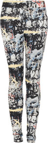 Grafitti Highshine Leggings - length: standard; style: leggings; waist detail: elasticated waist; waist: mid/regular rise; occasions: casual; fibres: polyester/polyamide - stretch; predominant colour: multicoloured; texture group: jersey - clingy; trends: statement prints; fit: skinny/tight leg; pattern type: fabric; pattern size: big & busy; pattern: patterned/print