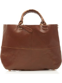Clean Leather Tote - predominant colour: tan; occasions: casual, work; style: tote; length: handle; size: oversized; material: leather; pattern: plain; finish: plain