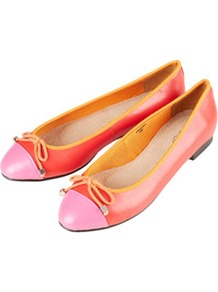 Milano Toecap Ballerina Flats - predominant colour: coral; occasions: casual, work, holiday; material: leather; heel height: flat; toe: round toe; style: ballerinas / pumps; trends: fluorescent; finish: plain; pattern: colourblock; embellishment: bow