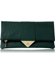 Tri Lock Merino Clutch - predominant colour: dark green; occasions: casual, evening, occasion; type of pattern: light; style: clutch; length: hand carry; size: standard; material: leather; embellishment: zips, chain/metal; pattern: plain; finish: plain