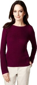 Slash Neck Knitted Jumper - neckline: round neck; pattern: plain; style: standard; predominant colour: aubergine; occasions: casual, work; length: standard; fibres: acrylic - mix; fit: slim fit; sleeve length: long sleeve; sleeve style: standard; texture group: knits/crochet; pattern type: fabric