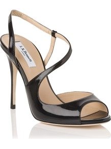 Palma Formal Sandal, Black - predominant colour: black; occasions: evening, occasion; material: leather; heel height: high; ankle detail: ankle strap; heel: stiletto; toe: open toe/peeptoe; style: standard; finish: patent; pattern: plain