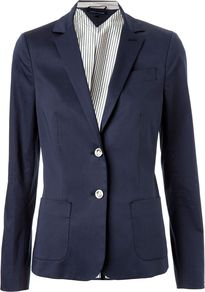 Women's Rodrigo New York Blazer, Navy - pattern: plain; style: single breasted blazer; hip detail: front pockets at hip; collar: standard lapel/rever collar; predominant colour: navy; occasions: casual, work; length: standard; fit: tailored/fitted; fibres: cotton - stretch; waist detail: fitted waist; back detail: back vent/flap at back; sleeve length: long sleeve; sleeve style: standard; texture group: cotton feel fabrics; collar break: low/open; pattern type: fabric; pattern size: standard