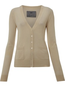 Women's Day Cashmere Cardigan, Beige - neckline: low v-neck; pattern: plain; bust detail: buttons at bust (in middle at breastbone)/zip detail at bust; predominant colour: stone; occasions: casual, work; length: standard; style: standard; fit: standard fit; waist detail: front pockets at waist level; fibres: cashmere - 100%; sleeve length: long sleeve; sleeve style: standard; texture group: knits/crochet; pattern type: knitted - fine stitch