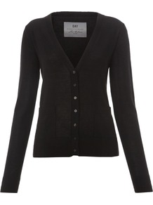 Women's Day Cashmere Cardigan, Black - neckline: v-neck; pattern: plain; bust detail: buttons at bust (in middle at breastbone)/zip detail at bust; predominant colour: black; occasions: casual, work; length: standard; style: standard; fit: standard fit; waist detail: front pockets at waist level; fibres: cashmere - 100%; sleeve length: long sleeve; sleeve style: standard; texture group: knits/crochet; pattern type: knitted - fine stitch; pattern size: standard