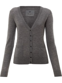 Women&#x27;s Day Cashmere Cardigan, Grey - neckline: low v-neck; predominant colour: charcoal; occasions: casual, work; length: standard; style: standard; fibres: wool - 100%; fit: standard fit; sleeve length: long sleeve; sleeve style: standard; texture group: knits/crochet; pattern type: knitted - fine stitch; pattern size: standard