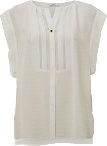 Women's Day Feel Silk Cap Sleeved Shirt, Off White - sleeve style: capped; pattern: plain; bust detail: added detail/embellishment at bust; length: below the bottom; style: shirt; predominant colour: ivory; occasions: casual, evening, work; neckline: collarstand; fibres: silk - 100%; fit: straight cut; back detail: longer hem at back than at front; sleeve length: short sleeve; texture group: silky - light; pattern type: fabric