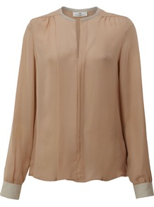 Women's Day Trinity Silk Shirt, Nude - pattern: plain; length: below the bottom; style: blouse; predominant colour: nude; occasions: casual, evening, work; neckline: collarstand; fibres: silk - 100%; fit: straight cut; shoulder detail: flat/draping pleats/ruching/gathering at shoulder; sleeve length: long sleeve; sleeve style: standard; texture group: silky - light; pattern type: fabric