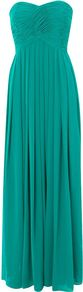 Women&#x27;s Tegan Maxi Dress, Green - pattern: plain; style: maxi dress; sleeve style: strapless; waist detail: fitted waist; neckline: sweetheart; bust detail: ruching/gathering/draping/layers/pintuck pleats at bust; predominant colour: emerald green; occasions: evening, occasion; length: floor length; fit: fitted at waist &amp; bust; fibres: polyester/polyamide - 100%; hip detail: ruching/gathering at hip, structured pleats at hip; sleeve length: sleeveless; texture group: sheer fabrics/chiffon/organza etc.; pattern type: fabric; pattern size: standard