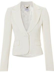 Women's Bellini Jacket, Ivory - pattern: plain; style: single breasted blazer; hip detail: side pockets at hip, front pockets at hip; collar: standard lapel/rever collar; predominant colour: ivory; occasions: casual, evening, work, occasion; length: standard; fit: tailored/fitted; fibres: polyester/polyamide - mix; waist detail: fitted waist; sleeve length: long sleeve; sleeve style: standard; collar break: low/open; pattern type: fabric; texture group: other - light to midweight