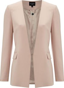Women's Hawksmoore Jacket, Pink - pattern: plain; style: single breasted blazer; hip detail: side pockets at hip; length: below the bottom; collar: standard lapel/rever collar; predominant colour: blush; occasions: casual, evening, work, occasion; fit: tailored/fitted; fibres: polyester/polyamide - stretch; waist detail: fitted waist; sleeve length: long sleeve; sleeve style: standard; texture group: crepes; trends: tuxedo; collar break: low/open; pattern type: fabric; pattern size: standard