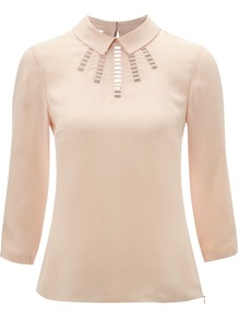 Women's Hayward Blouse, Pink - pattern: plain; bust detail: added detail/embellishment at bust; style: blouse; predominant colour: blush; occasions: evening, work; length: standard; fibres: silk - 100%; fit: body skimming; neckline: no opening/shirt collar/peter pan; back detail: keyhole/peephole detail at back; sleeve length: 3/4 length; sleeve style: standard; texture group: silky - light; pattern type: fabric