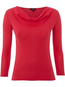 Women's Whistable Cowl, Sorbet - neckline: cowl/draped neck; pattern: plain; predominant colour: true red; occasions: casual, work; length: standard; style: top; fibres: cotton - 100%; fit: body skimming; sleeve length: long sleeve; sleeve style: standard; pattern type: fabric; texture group: jersey - stretchy/drapey