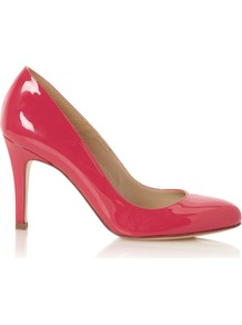 Valerie Court, Sorbet - predominant colour: hot pink; occasions: evening, work, occasion; material: leather; heel height: high; heel: stiletto; toe: round toe; style: courts; finish: patent; pattern: plain