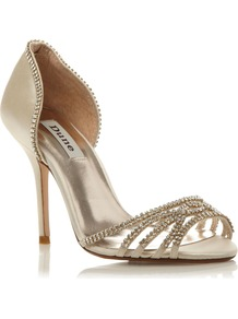 Haute Two Part Diamante Sandals, Ivory - predominant colour: ivory; occasions: evening, occasion; material: satin; heel height: high; embellishment: crystals, jewels; heel: stiletto; toe: open toe/peeptoe; style: strappy; finish: plain; pattern: plain