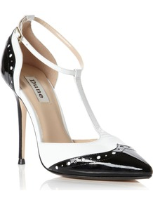 Capsule Pointed Toe Brogue Shoes, Black & White - occasions: evening, work, occasion; material: leather; heel height: high; embellishment: buckles; ankle detail: ankle strap; heel: stiletto; toe: pointed toe; style: t-bar; predominant colour: monochrome; finish: patent; pattern: two-tone, colourblock