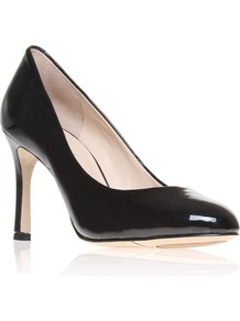 Drusilla3 Court Shoes, Black - predominant colour: black; occasions: evening, work, occasion; material: leather; heel height: high; heel: stiletto; toe: round toe; style: courts; finish: patent; pattern: plain