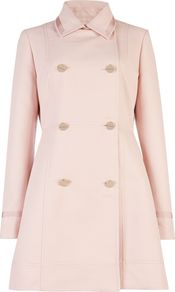 Women's Kaylaa Double Breasted Coat, Pink - pattern: plain; style: double breasted; length: mid thigh; predominant colour: blush; occasions: casual, occasion; fit: tailored/fitted; fibres: cotton - mix; collar: shirt collar/peter pan/zip with opening; sleeve length: long sleeve; sleeve style: standard; collar break: high; pattern type: fabric; texture group: other - bulky/heavy