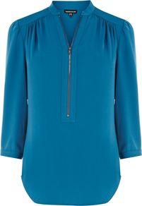 Women's Zip Front Blouse, Teal - pattern: plain; style: blouse; predominant colour: teal; occasions: casual, evening, work; length: standard; neckline: mandarin with v-neck; fibres: polyester/polyamide - 100%; fit: straight cut; shoulder detail: structured/bulky pleats/bulky detail at shoulder; sleeve length: 3/4 length; sleeve style: standard; pattern type: fabric; texture group: other - light to midweight