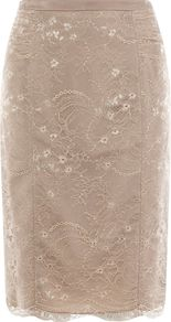 Women's Arabella Lace Skirt, Neutral - pattern: plain; style: pencil; fit: tailored/fitted; waist: high rise; hip detail: fitted at hip; predominant colour: stone; occasions: evening, occasion; length: just above the knee; fibres: nylon - 100%; waist detail: narrow waistband; texture group: lace; pattern type: fabric; pattern size: small & busy; embellishment: beading