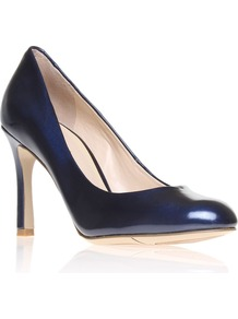 Drusilla3 Court Shoes, Navy - predominant colour: navy; occasions: evening, work, occasion; material: leather; heel height: high; heel: stiletto; toe: round toe; style: courts; finish: patent; pattern: plain