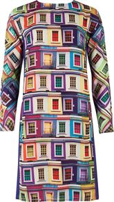 Women's Jupi Rainbow Viewpoint Dress, Purple - style: shift; neckline: round neck; occasions: casual, evening, work; length: just above the knee; fit: soft a-line; fibres: polyester/polyamide - 100%; predominant colour: multicoloured; sleeve length: long sleeve; sleeve style: standard; texture group: silky - light; trends: statement prints, glamorous day shifts; pattern type: fabric; pattern size: big & busy; pattern: patterned/print