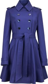 Women's Moriah Double Breasted Coat, Purple - pattern: plain; shoulder detail: obvious epaulette; style: princess; fit: slim fit; hip detail: flared at hip; length: mid thigh; predominant colour: navy; occasions: casual, evening, work; fibres: cotton - stretch; collar: shirt collar/peter pan/zip with opening; waist detail: belted waist/tie at waist/drawstring; sleeve length: long sleeve; sleeve style: standard; texture group: technical outdoor fabrics; collar break: high; pattern type: fabric