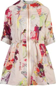 Women's Garnia Treasured Orchid Print Parka, Pink - hip detail: side pockets at hip; collar: round collar/collarless; style: single breasted; length: mid thigh; predominant colour: blush; secondary colour: true red; occasions: casual, occasion; fit: straight cut (boxy); fibres: polyester/polyamide - mix; waist detail: fitted waist; sleeve length: short sleeve; sleeve style: standard; texture group: silky - light; collar break: high; pattern type: fabric; pattern size: big & busy; pattern: florals