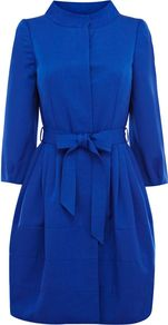 Women's Kya Coat, Cobalt - pattern: plain; collar: mandarin; style: single breasted; fit: slim fit; length: mid thigh; predominant colour: royal blue; occasions: casual, evening, work, occasion; fibres: cotton - mix; sleeve length: 3/4 length; sleeve style: standard; texture group: cotton feel fabrics; trends: volume; collar break: high/illusion of break when open; pattern type: fabric; pattern size: standard
