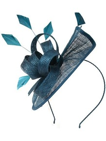 Sinamay Mini Saucer, Teal - predominant colour: teal; occasions: evening, occasion; type of pattern: standard; style: fascinator; size: standard; material: sinamay; embellishment: feather, corsage; pattern: plain; trends: sculptural frills