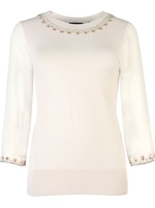 Women's Mundia Embellished Jumper, Pink - pattern: plain; bust detail: added detail/embellishment at bust; style: standard; hip detail: fitted at hip; predominant colour: blush; occasions: casual, evening, work; length: standard; fibres: silk - mix; fit: standard fit; neckline: crew; sleeve length: 3/4 length; sleeve style: standard; texture group: knits/crochet; pattern type: knitted - fine stitch; pattern size: small & light; embellishment: beading