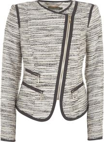 Women's Boucle Jacket, Multi Coloured - pattern: plain, striped, herringbone/tweed, patterned/print; style: biker; hip detail: front pockets at hip; collar: high neck; fit: slim fit; predominant colour: black; occasions: casual, evening, work; length: standard; fibres: wool - mix; waist detail: fitted waist; sleeve length: long sleeve; sleeve style: standard; collar break: high/illusion of break when open; pattern type: fabric; pattern size: standard; texture group: other - light to midweight