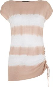 Women's Tie Dye Tunic, Multi Coloured - neckline: slash/boat neckline; sleeve style: capped; length: below the bottom; style: tunic; pattern: tie dye; secondary colour: white; predominant colour: nude; occasions: casual, evening, work, holiday; fibres: linen - 100%; fit: body skimming; sleeve length: short sleeve; texture group: linen; trends: striking stripes; hip detail: ruffles/tiers/tie detail at hip; pattern type: fabric; pattern size: standard