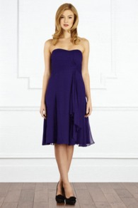 Symphony Short Dress - style: empire line; length: below the knee; fit: empire; pattern: plain; sleeve style: strapless; neckline: sweetheart; predominant colour: purple; occasions: evening, occasion; fibres: viscose/rayon - 100%; hip detail: soft pleats at hip/draping at hip/flared at hip; sleeve length: sleeveless; texture group: sheer fabrics/chiffon/organza etc.; bust detail: tiers/frills/bulky drapes/pleats; pattern type: fabric; pattern size: standard